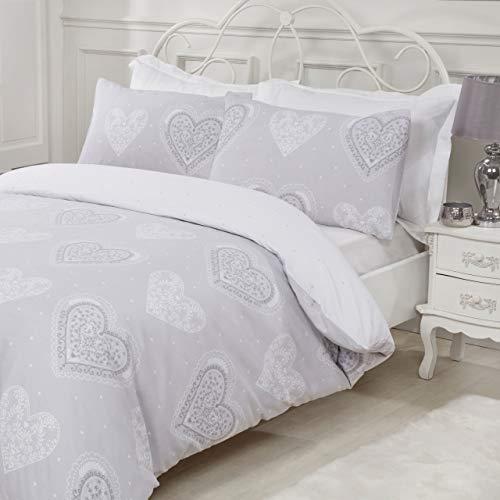 Sleepdown Juego de Ropa de Cama Reversible y Fundas de Almohada, diseño de Corazones Decorativos