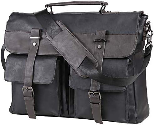 Leather Messenger Bag for Men 17 3 Inch Vintage Leather Laptop Bag Briefcase Satchel Large Messenger product image