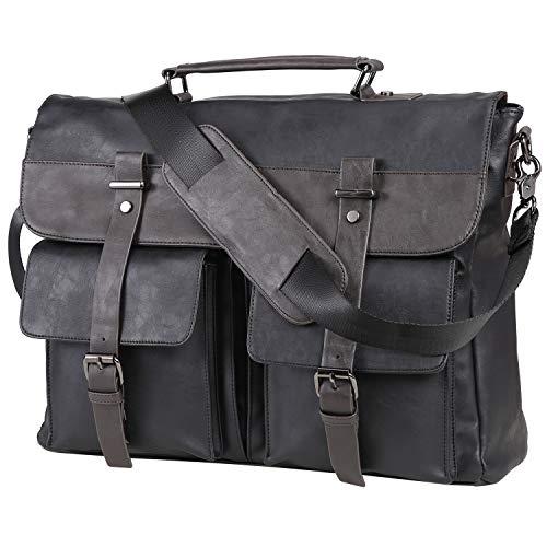Leather Messenger Bag for Men, 15.6 Inch Vintage Laptop Bag Briefcase Satchel