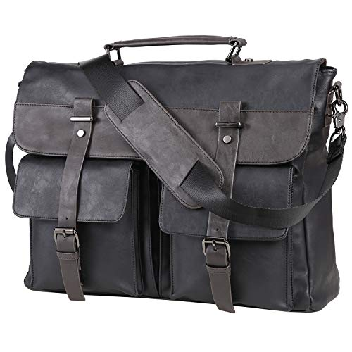 Leather Messenger Bag for Men, 15.6 Inch Vintage Laptop Bag Briefcase Satchel