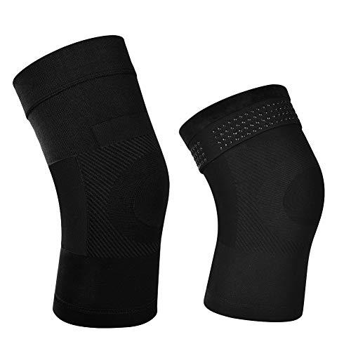 Soumit Kniebandage, elastisch, 1 Paar Thermo-Kompressions-Kniebandage zur Schmerzlinderung, Kniebandage, Knieschützer für den Sport Schwarz