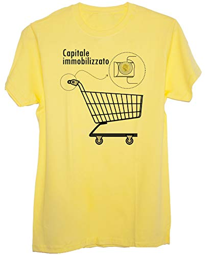New Indastria T-Shirt Carrello della Spesa 500 Lire Capitale Immobilizzato - Cult Divertente - Uomo-L - Gialla