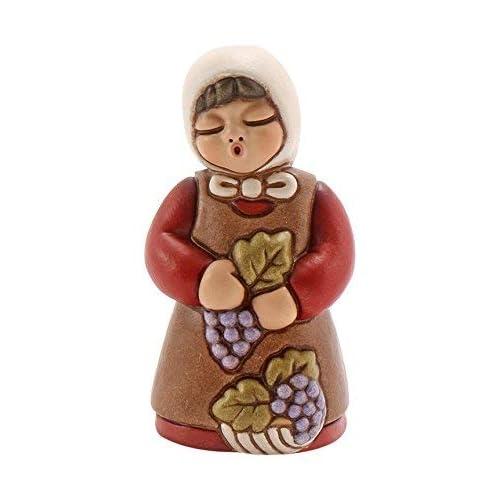 THUN® - Donna Vendemmiatrica con UVA - Versione Rossa - Statuine Presepe Classico - Ceramica - I Classici