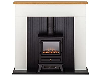 Innsbruck White Electric Stove Fireplace Suite