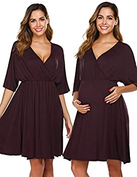 Ekouaer 3 in 1 Delivery/Labor/Nursing Nightgown Women s Maternity Hospital Gown for Delivery Breastfeeding Deep Red