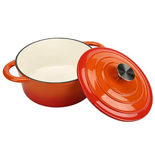 Cookwin - Horno holandés de hierro fundido esmaltado con tapa de autoadherencia, antiadherente, color naranja