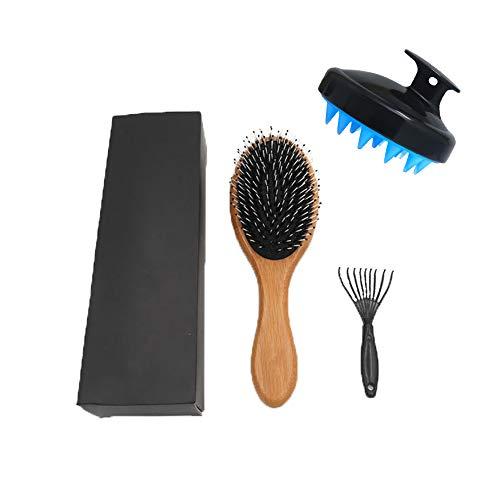 Boar Bristle Hair Brush Set for Women Men Kids. Best Detangling Brush, Boar Bristle Brush, Wooden Hair Brush, Curly Hair Brush, Bamboo Hair Brush Kids, Designed for Thin and Normal Hair.