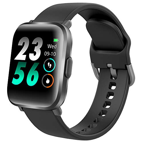 DR.VIVA Reloj Inteligente Hombres Mujeres CS201, Smartwatch Impermeable IP68,Deportivo Pulsera de Actividad Inteligente Reloj de Fitness con Pulsómetro Cronómetro SpO2 para Android iPhone,Negro