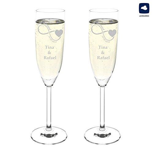 polar-effekt Hochzeitsgläser Hochzeitsgeschenke für Brautpaare - Leonardo 2 Sektgläser Personalisiert mit Gravur des Namens - Geschenkidee zur Hochzeit - Motiv Unendlichkeit mit Herz