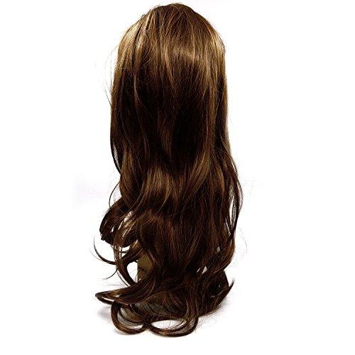 Vococal® Dames Femmes Cosplay Scroll Brun Clair Frange Oblique Haute Température Fibre Duveteuse Perruque Longue Perruque de Cheveux Bouclés