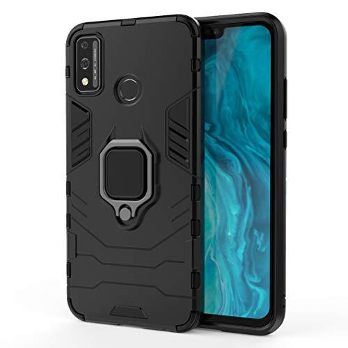 HAOTIAN Hülle kompatibel für Huawei Honor 9X Lite, Handyhülle mit 360 Grad Finger-Halter Kickstand für magnetische KFZ-Halterung, Dual Layer Silica TPU + Harter PC Schutzhülle Cover. Schwarz