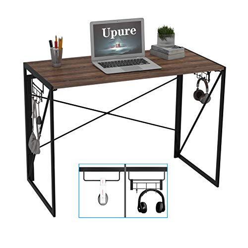 Folding Computer Desk Modern Simple Study Table Foldable Desk Gaming Desk with Removable Hook Home Office Desk 39' Brown