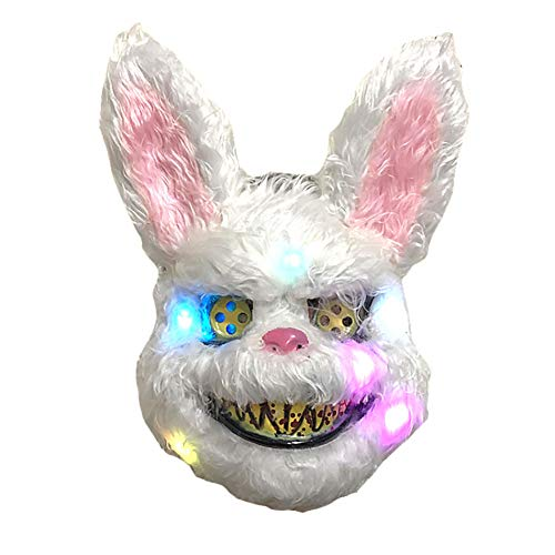 Queta Halloween Máscara Conejo LED, Máscara Sangrienta Monstér Máscara Terror para Halloween Carnival Fiestas Disfraces