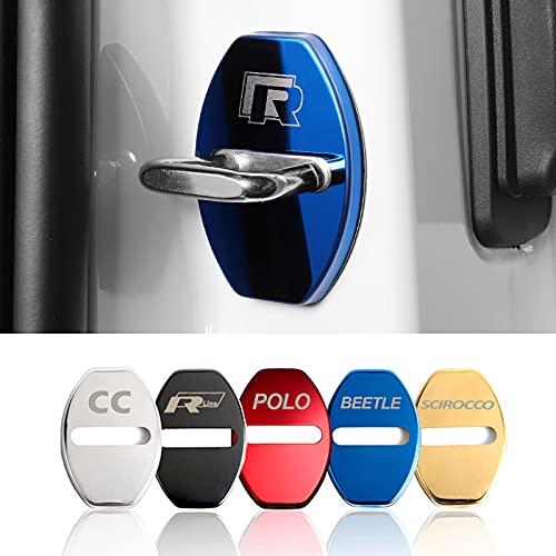 Cubierta de la cerradura de la puerta del coche 4 unids Cubierta de cerradura de puerta de acero inoxidable Compatible con VW Golf Abi GTI Passat CC Beetle R-Line Polo Scirocco MK5 6 Jetta GTD Accesor
