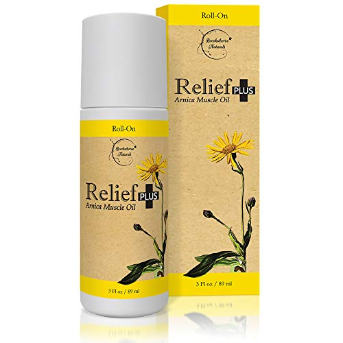 Relief Plus Arnica Muscle Oil – Extra Strength Roll On - Cypress, Eucalyptus & Helichrysum Essential Oils & Menthol. All Natural Remedy for Sore Muscles, Aching Joints by Brookethorne Naturals
