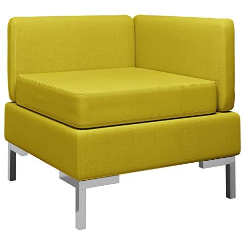 vidaXL Ecksofa Modular mit Auflage Sofa Einzelsofa Polstersofa Loungesofa Stoffsofa Sitzmöbel Stoff Gelb Kunststoffbeine 65x65x65cm