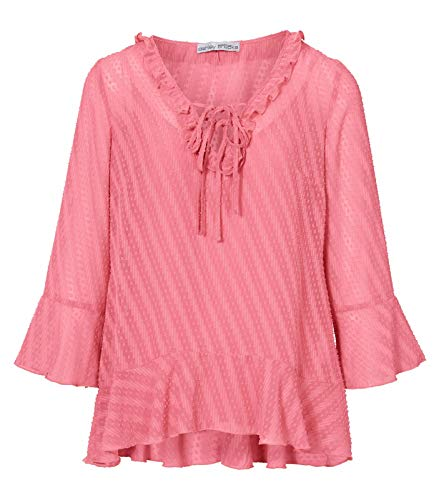 Ashley Brooke Tunika leicht transparente 3/4-Arm Bluse für Damen mit Top Frühlings-Shirt Mode-Bluse Rosa, Größe:38
