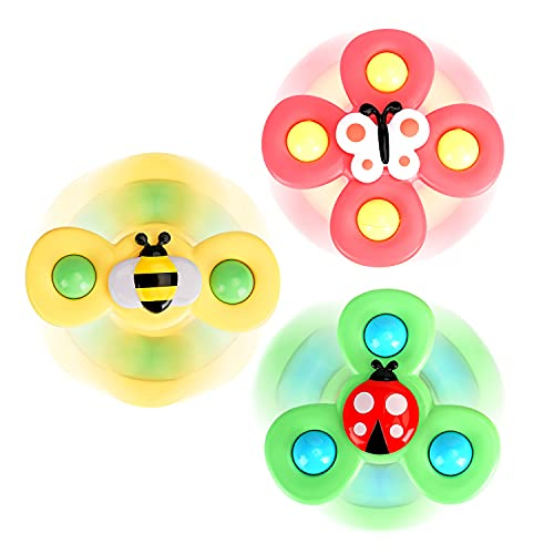3PCS Suction Cup Spinner Toy | Spinning Top Baby Toys (Farm) | Gift toys for 1 Year Old boys and...