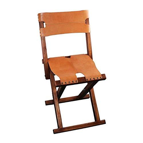 SPRINGHUA Silla plegable de madera ligera y portátil con asiento de cuero y respaldo, compatible con muebles de exterior plegables para acampar y pescar