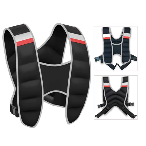Weighted Vest with Reflective Stripe, Adjustable Weighted Vest for Running, Workout, Cardio, Walking...