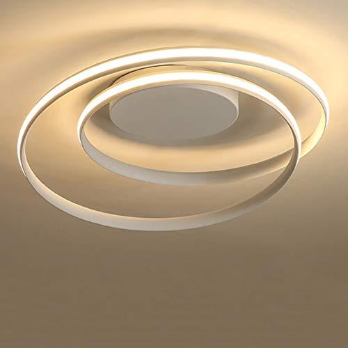 Moderne kreative Spiral-LED-Deckenleuchte Warmes Licht 3000K Ring Design Esszimmerlampe Rundes Wohnzimmerlicht Gebogener Metallacryleisenleuchter Mattweiß L46cm H12cm 50W 4500LM