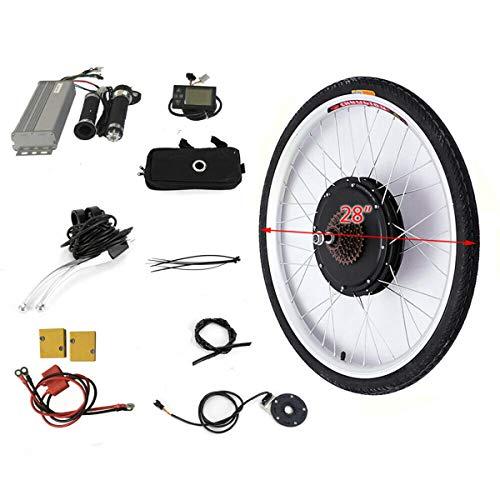 OUKANING - Set de conversión para bicicleta eléctrica (28', con pantalla LCD, motor trasero, 36 V, 500 W)