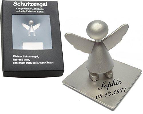 Engel Schutzengel Zettelhalter (Matt) Magnet Auto Car mit Gravur Wunschtext