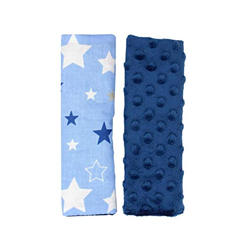 TupTam Protectores para Cinturones de Coche para Niños 2 pz, Estrellas Azul Oscuro/Azul