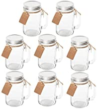 Maredash 8 Pack Mason Jars With Handle Lids with Chalkboard Labels and Tin Lids 16 OZ For Favors