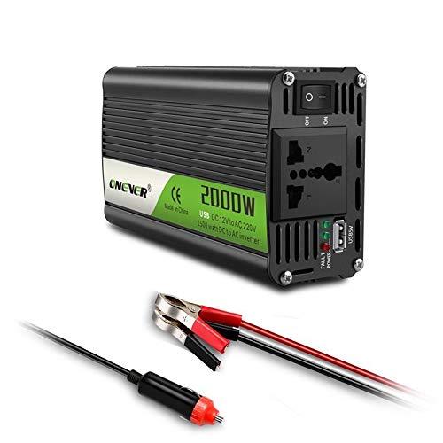 Inversor USB de carga 2000W vatios DC 12V a 220V AC portátil de energía de coche Inversor cargador adaptador convertidor DC a AC 12 220 de onda sinusoidal modificada Inversores de corriente