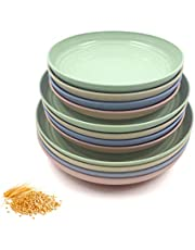 Juego de 12 platos de paja de trigo, irrompibles, ligeros, platos de cena aptos para microondas, perfecto para ensalada, pasta, filetes, frutas (7.8 pulgadas, 8.8 pulgadas, 9.8 pulgadas) (12 unidades)