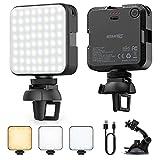 ESMART Luz LED Fotografía, Luz LED Cámara, 64 LED Luz Regulables de 2500K-6500K, CRI 95+, Foco Led Portátil para Laptops, Cámaras y Móviles con Soporte y Tipo-C