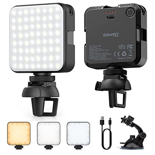 ESMART Luz LED Fotografía, Luz LED Cámara, 64 LED Luces Regulables de 2500K-6500K, CRI 95+, Foco Led Portátil para Laptops, Cámaras y Móviles con Soporte y Tipo-C