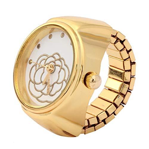 Wosune Reloj con Anillo de Cuarzo, Reloj con Anillo, Reloj con Anillo con Esfera Redonda, día de San Valentín, niñas Hermosas para la mayoría de Las Mujeres, cumpleaños(Golden)