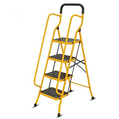 Escalera de hierro pesado de 4 pasos, escalera segura para el hogar con reposabrazos de doble lado, plataforma ancha – escalera de ingeniería interior (color: amarillo, tamaño: 53 x 81,5 x 145 cm).