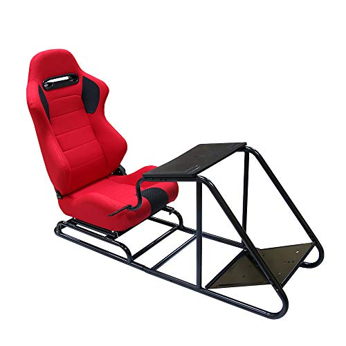 Racing Simulator Seat, verstellbares Fahrspiel Reclinable Seat Steering Pedal Shift Mount Simulator Chair Fahrersitz PVC Leder Teleskop,Rot