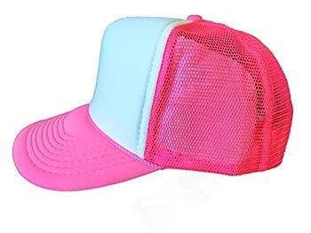 2 Packs NEON Baseball Caps Blank Trucker Hats Summer Mesh Bachelorette Capl  2 for Price of 1   NEON - Pink/White