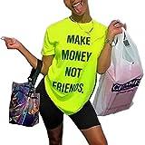 Women's 2 Piece Outfits Romper Letter Print T-Shirts Bodycon Shorts Tracksuit Set Workout Jumpsuits Clubwear Plus Size Green 3XL