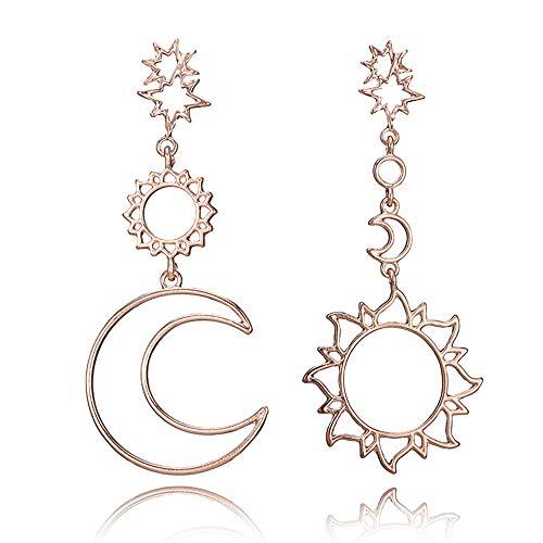 LODDD 1 Pair Retro Stylish Cute Alloy Asymmetric Sun Star Moon Earrings Ladies Long Chain Hollow Stud Earrings
