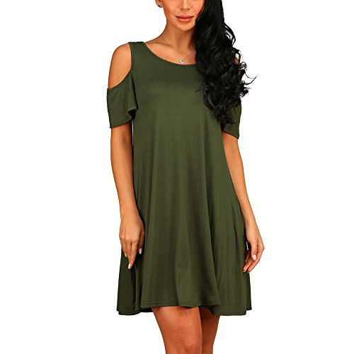 Women's Cold Shoulder Ruffle Sleeve Solid Shift Dresses Tunic Top T Shirt Swing Dress with Pockets (Apparel)