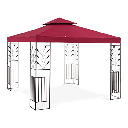 Uniprodo Garden Pavilion Outdoor Metal Gazebo Pergola Party Tent Square 3x3m Taupe UNI_PERGOLA_3X3T (Height 2.60m, Powder-Coated Metal Frame, UV- & Water-Resistant)