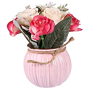 VOSAREA Artificial Flower with Ceramic Vase Mini Potted Fake Hibiscus Rose Realistic Bonsai Plants for Wedding Home Office Table Decoration Pink