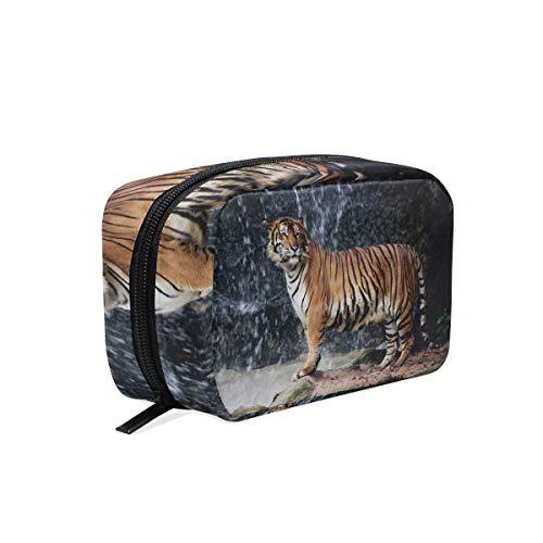 Trousse de maquillage paysage cascade animal tigre pochette cosmétique embrayage