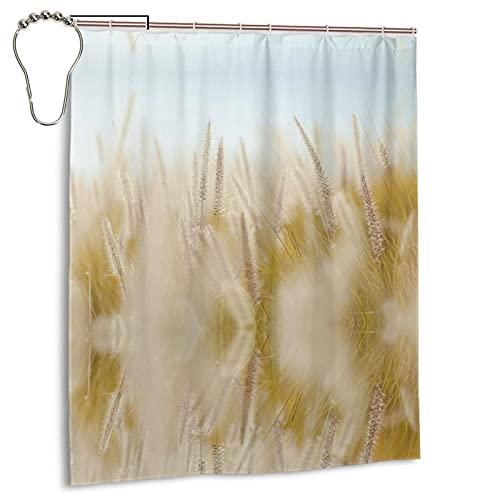 LIANGFF Weizen-Duschvorhang, schimmelresistent, wasserdicht, mit 12 Haken, Polyester