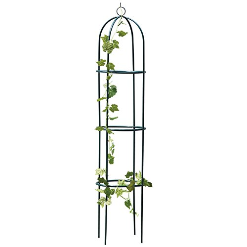 Metal Garden Obelisk Climbing Plant 1.9m Flowers Steel Frame Wgo Trellis Vines Floral Decor Army Green Yard Round Weather-Proof Metal Brand New