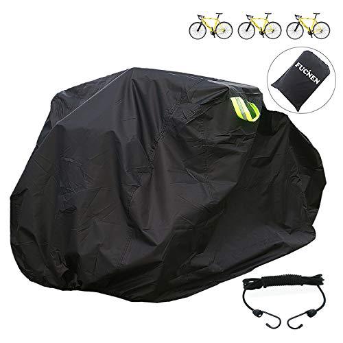 Große Fahrradabdeckung Wasserdicht FUCNEN Fahradabdeckungen zur Aufbewahrung von Fahrrädern für 2 bis 3 Fahrräder, Robustes 210D-Oxford Schwarz Fahrradgarage Schutzhülle für aussen Anti-Staub Regen UV