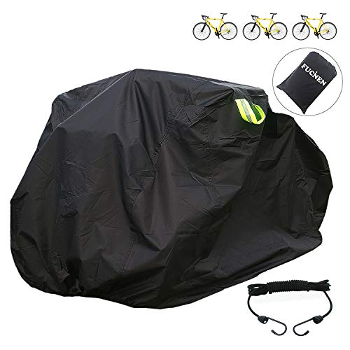 FUCNEN Large Bike Cover for Indoor Outdoor Bicycle Storage Black Rain Cover for 2 3 Bikes Upgraded Heavy Duty 210D Oxford Fabric Anti Dust Rain UV Protection for Mountain Road 3 Wheel Bike Cover L
