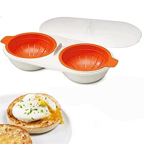 Draining Egg Boiler Microondas, Hervidor de Huevos para Microondas, Drenaje de la Caldera de Huevos,Taza Doble Hervidor de Huevos, CaracteríStica Antiadherente, BPA Free Naranja