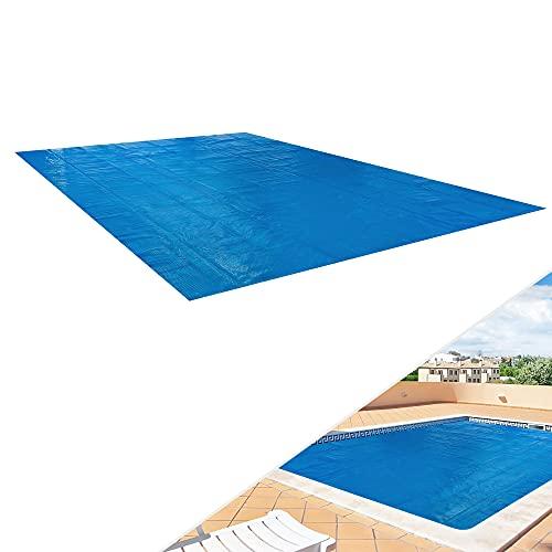 Arebos Pool Solarfolie/Abdeckung | eckig | 6 x 5 m | Materialstärke 0,4 mm | schwimmend | verringert Wasser-Verdunstung | PE Luftpolsterfolie | blau