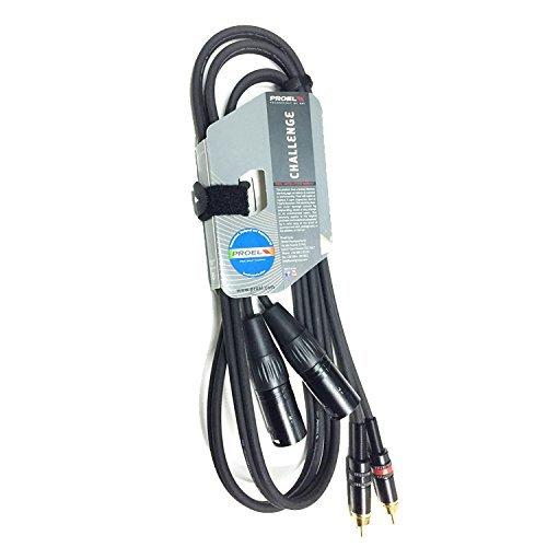 """Proel CHLP330LU3 nuovo cavo audio professionale """"STEREO"""" con connessioni 2 X spina RCA a 2 x spina volante Cannon XLR 3P Maschio - 3mt. Nero"""